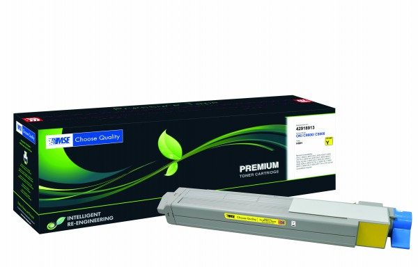 MSE Premium Farb-Toner für Oki C9600/C9800 Yellow High Yield - kompatibel mit 42918913