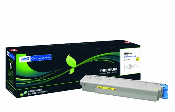 MSE Premium Farb-Toner für Oki C8600/C8800 Yellow - kompatibel mit 43487709
