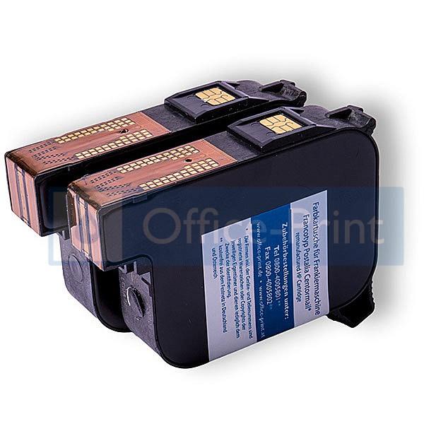Fachgerecht wiederaufbereitetes Farbkartuschenset passend für Francotyp-Postalia Centormail blau