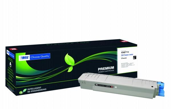 MSE Premium Farb-Toner für Oki C8600/C8800 Black - kompatibel mit 43487712